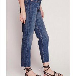 Levi's destroyed mid-waist straight leg jeans